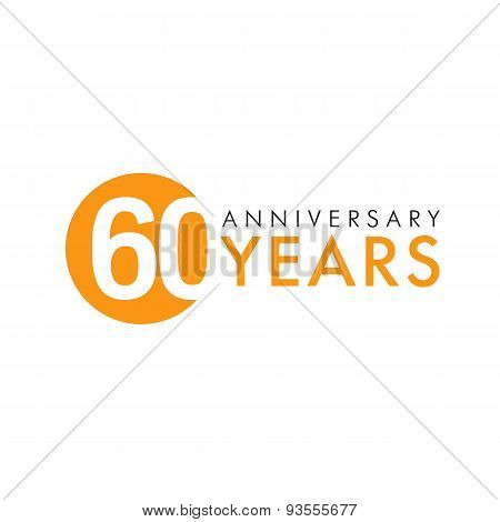 60 years old round logo. Anniversary year of 60 th vector banner numbers. Birthday greetings circle celebrates. Celebrating digits. Colored figures of ages.