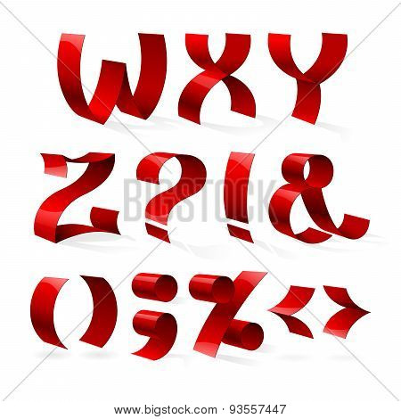 Set of isolated red color shiny ribbon font W-Z letters and punc