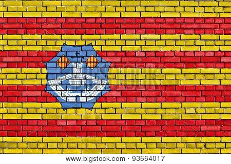 Flag Of Minorca Painted On Brick Wall