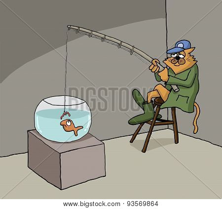 Funny cartoon about cat fishing at home