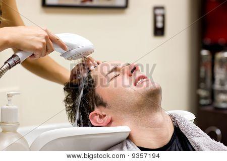 Cute Man Having His Hair Washed