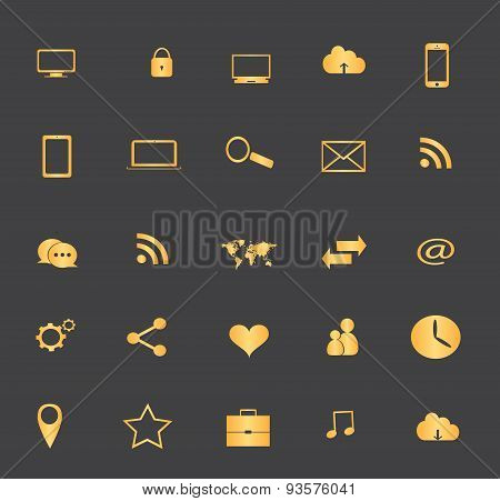 Digital Devices Icon Set gold