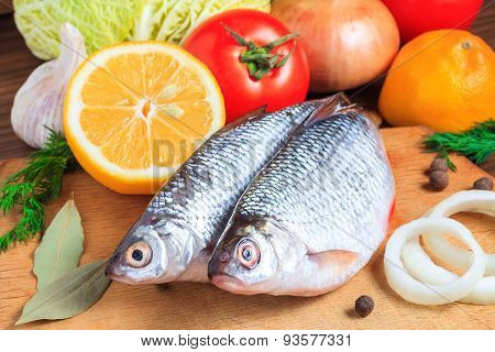 Raw Fish And Vegetables