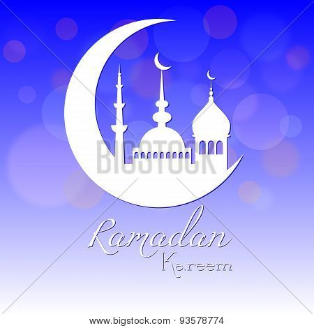 Card in blue color for congratulations with beginning of fasting month of Ramadan as well with Islamic holiday Eid al-Fitr and Eid al-Adha. Vector illustration poster