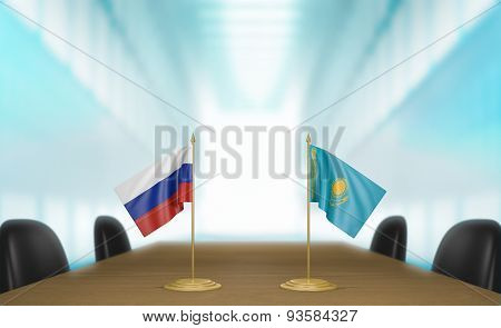 Russia and Kazakhstan relations and trade deal talks 3D rendering