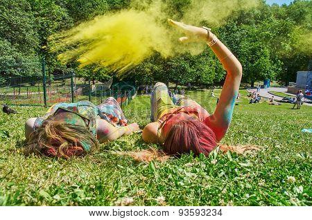 Throwing Yellow Holi