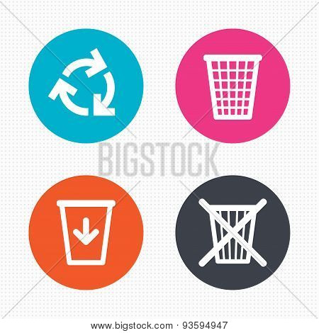 Circle buttons. Recycle bin icons. Reuse or reduce symbols. Trash can and recycling signs. Seamless squares texture. Vector poster
