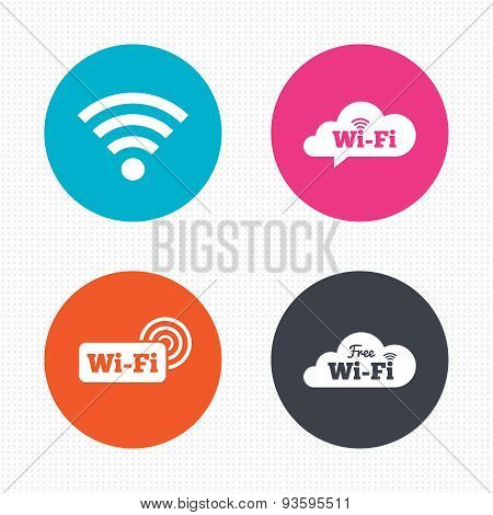 Wifi Wireless Network icons. Wi-fi speech bubble