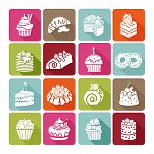 Flat dessert icons of cakes for bakeries and restaurants, cafes and shops.  Cream sweet, bakery and cupcake, vector illustration poster