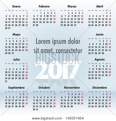 Calendar For 2017 Year In Spanish On Blue
