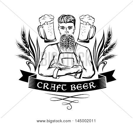 Craft beer emblem. Hipster brewer with wheat beard ornament decorations and beer mugs. Monochrome vector illustration