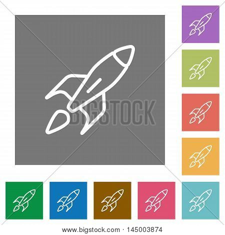 Launched rocket flat icon set on color square background.