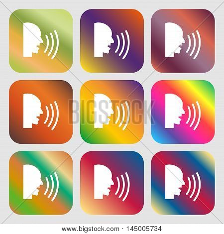 Talking Flat Modern Web Icon . Nine Buttons With Bright Gradients For Beautiful Design. Vector