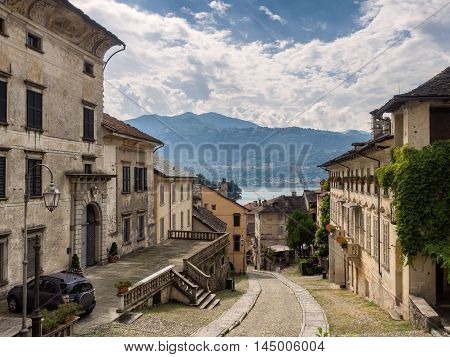 Small streets in Orta san Giulio in Italy