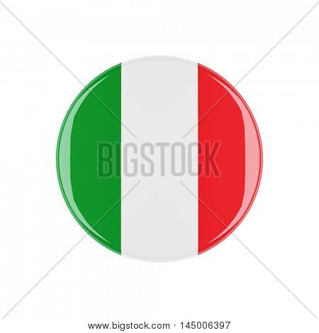 italy 3d button isolated on white background