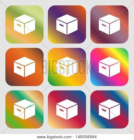 Packaging Cardboard Box Icon . Nine Buttons With Bright Gradients For Beautiful Design. Vector