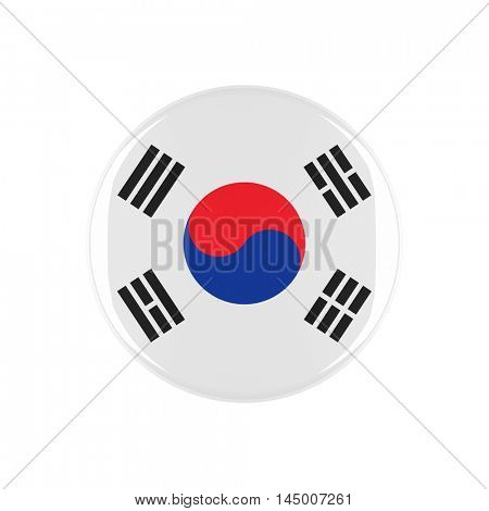south korea3d button isolated on white background