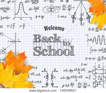 Welcome back to school with physics formulas and figure on squared sheet of paper with autumn maple leaves. School education vector background