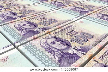 Transnistrian ruble bills stacks background. 3D illustration.