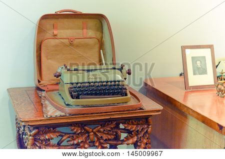 Moscow, Russia - August 30, 2016 - Vintage typewriter Aztec 600 with cyrillic font. Made in Germany. XX century. The State A.S.Pushkin Museum.