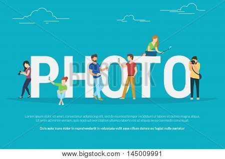 Photo concept illustration of young people using smartphones with sticks and lens camera for taking photos. Flat people standing and sitting near letters photo