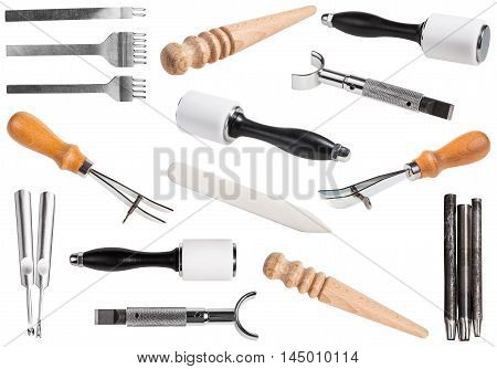 Set Of Leathercraft Tools Isolated On White
