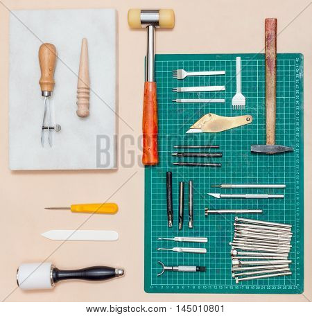 Top View Of Various Tools For Leathercrafting