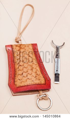 New Hand Made Carved Leather Purse For Keys