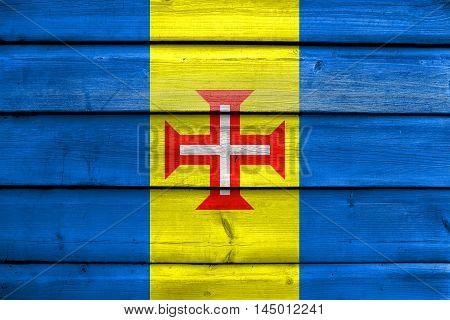 Flag Of Madeira, Portugal, Painted On Old Wood Plank Background