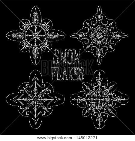 Chalk Snowflakes On Vector Photo Free Trial
