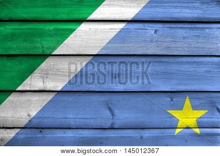Flag Of Mato Grosso Do Sul State, Brazil, Painted On Old Wood Plank Background