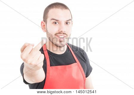 Ironic Butcher Doing Fuck You Sign