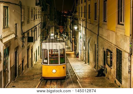 Night view of The Bica Funicular, in the old town of Lisbon, capital of Portugal