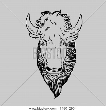 Bison Mascot Head.Buffalo Head Animal Symbol.Engrave isolated vector.Hand Drawn Graphic.Isolated on gray background.Great for Badge Label Sign Icon Logo Design.Quality Americana Bison Emblem.