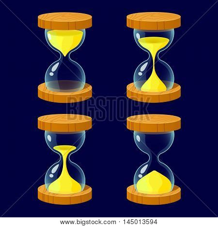Vector illustration.Set of Cartoon glossy hourglass.Hourglass isolated on a dark background.Game icon.Vector design for app user interface and score display..Ranking game elements.For animation