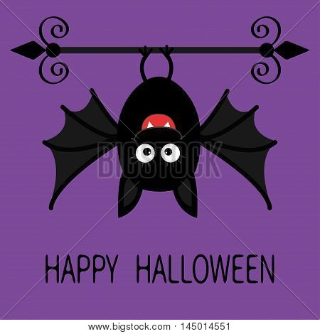 Happy Halloween card. Cute cartoon hanging bat. Animal character. Baby illustration collection. Flat design. Violet background. Vector illustration