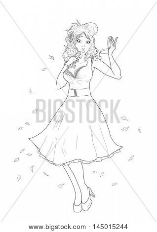 Retro 1950S Pin up Girl Illustration (autumn leaves blowing wind)