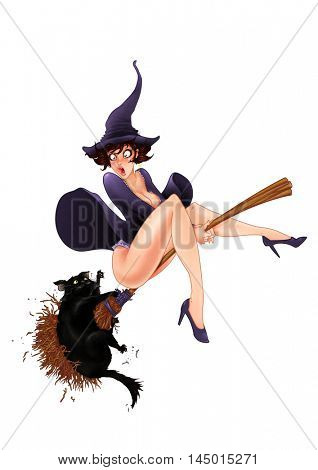 Retro Pin Up painting of a witch on a broom with a needy black cat