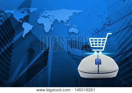 Wireless computer mouse with online shopping icon over map and city tower background Shop online concept Elements of this image furnished by NASA