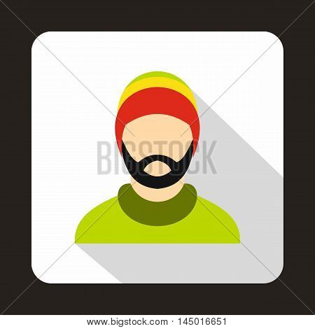 Man wearing rastafarian hat icon in flat style on a white background
