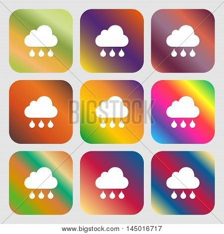 Cloud Rain Icon . Nine Buttons With Bright Gradients For Beautiful Design. Vector