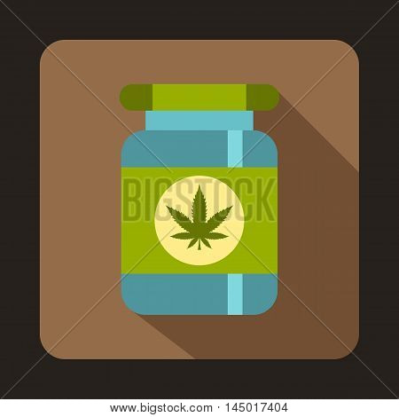 Medical marijua bottle icon in flat style on a coffee background