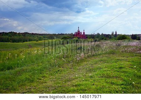 Summer landscape with the Russian church. Olgas monastery. Tver region.