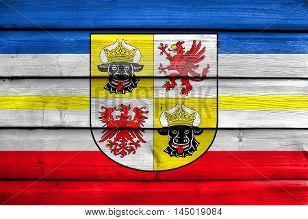 Flag Of Mecklenburg-western Pomerania With Coat Of Arms, Germany, Painted On Old Wood Plank Backgrou