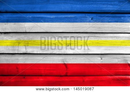 Flag Of Mecklenburg-western Pomerania, Germany, Painted On Old Wood Plank Background