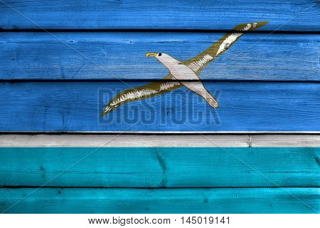 Flag Of Midway Atoll (unofficial), Painted On Old Wood Plank Background