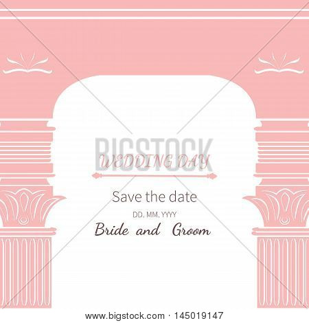 Postcard invitation to wedding.Frame vintage archway ornate royal architecture