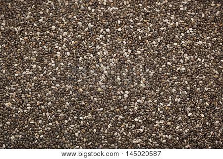Closeup of a lot of chia seeds