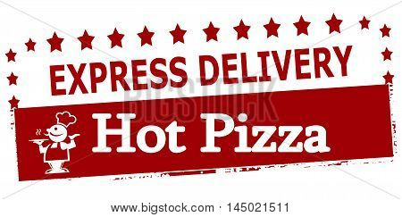 Rubber stamp with text experss delivery hot pizza inside vector illustration