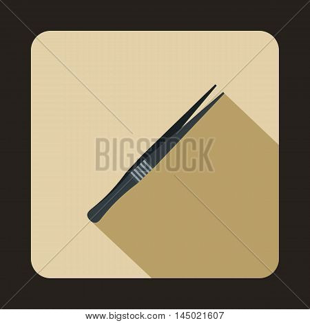 Metallic tweezers icon in flat style on a beige background